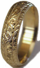 NEW! HAND ENGRAVED WOMAN 14K YELLOW GOLD 6MM WIDE WEDDING BAND RING COMFORT FIT