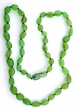 Natural Oval Green Baltic Amber 18 Inch Gemstone Gem Stone Necklace With Clasp