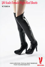 """1:6 Female High-heel Black Boots Shoes Verycool VCF2003 F12"""" Action Figure Toy"""