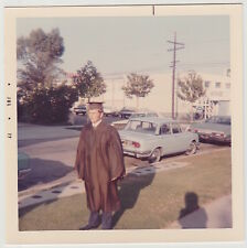Square Vintage 70s PHOTO Young Teen Guy In Graduation Cap & Gown Outdoors