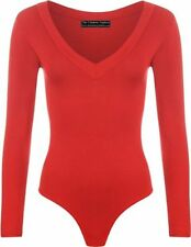 Womens V Neck Bodysuit Plunge Stretch Plain Long Sleeve Ladies Leotard Top 8-14