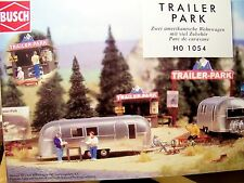 HO Busch 1054 TRAILER PARK KIT with TWO AIRSTREAM Trailers