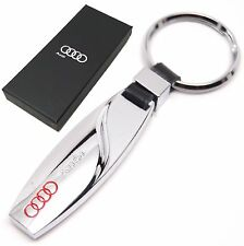 AUDI KEYRING KEY CHAIN A3 A4 A6 TT RING FOB CHROME METAL NEW WITH GIFT BOX