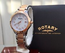 Stunning ROTARY Ladies Watch Rose gold Swarovski Crystals Genuine RRP £189 (R7)