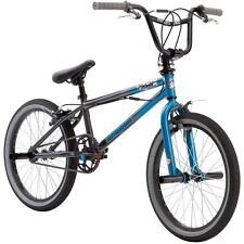 "Boys BMX Bike Freestyle 20"" Inch Blue/Black Foot Pegs Stunts Tricks Hand Brakes"