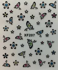 Nail Art 3D Decal Stickers Butterflies & Flowers with Rhinestones XF207