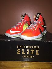 NIKE LEBRON X 10 PS ELITE TOTAL CRIMSON Red -FIBERGLASS-VOLT SZ 9 [579827-800]
