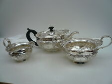 Silver Tea Set, Sterling, Antique, 3 Piece, English, Teapot, Hallmarked 1901