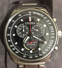 CITIZEN ECO-DRIVE CHRONOGRAPH **AT2370-55E** STAINLESS STEEL MEN'S WATCH