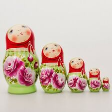 Nesting Dolls Matryoshka Made in Russia Hand Painted Russian Doll Green Pink