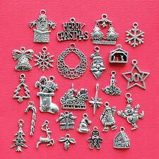 Christmas Deluxe Charm Collection 25 SilverTone Holiday Charms FREE Shipping E58