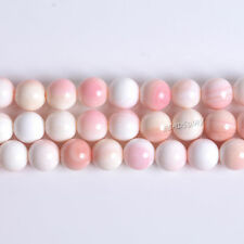 8MM191 8mm  Pink Queen Conch shell round loose beads 16""