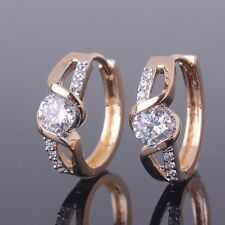 Vintage White sapphire 18k gold Platinum filled Amazing chic hoop earrings