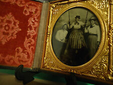 1/6 Tintype of 2 Women and Man, One Woman in Swing in Full Case