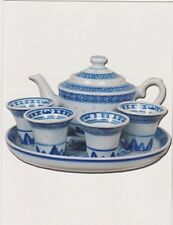 "*Postcard-""Tea Time"" *Pot & 4 Cups-...Setting Ready"