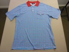 037 MENS NWOT QUIKSILVER AQUA BLUE / WHITE / RED S/S POLO LRG $80 RRP.