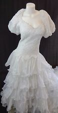 NATIONWIDE GOWNS WHITE ORGANZA LACE SATIN & BEADED PEARLS WEDDING DRESS SIZE 12
