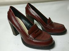 KURT GEIGER KG WOMENS MAROON RED LEATHER HIGH HEELS LOAFERS SHOES SIZE UK 5 38