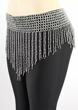 New Belly Dance Costume Hip Scarf Bead Elastic Belt  - silver