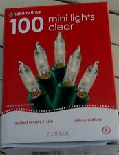 BRAND NEW IN BOX Holiday Time 100 Mini Light Set, Clear, Indoor/Outdoor, NEW