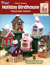 Holiday Birdhouse Tissue Box Covers plastic canvas patterns OOP new