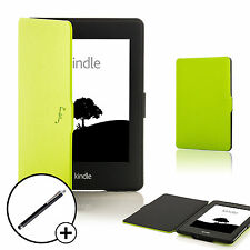 Leather Green Shell Smart Case Cover for Amazon Kindle Paperwhite 2015 + Stylus