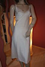 Glanz Negligee Nachtkleid Polyester-Satin weiß glänzend Vassarette USA Gr. M