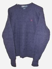 POLO SWEATER 100% WOOL RALPH LAUREN CREW NECK BLUE CABLE KNIT SIZE LARGE