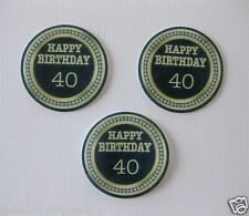 12 PRE CUT 40TH 40 EDIBLE RICE WAFER PAPER CARD BIRTHDAY PARTY CUPCAKE TOPPERS