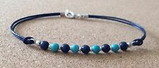 TURQUOISE+LAPIS 4mm Beads, Leather Cord, Silver Plated, Friendship Bracelet