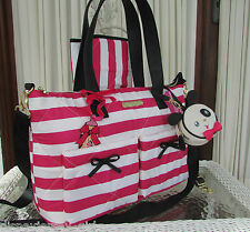 Betsey Johnson Nylon Quilt Stripe Diaper Bag Tote Weekender 3 pc set Fuchsia NWT