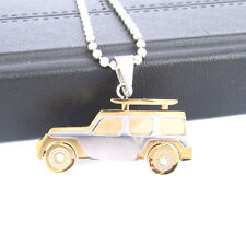 Men's Stainless Steel Gold Jeep Car Chain Pendant Necklace wwwfashion F3520
