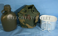 3 PIECE 1 QUART CANTEEN KIT w/ 1QT Woodland Camo COVER & ALUMINUM CUP NEW