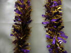 3 Purple & Gold Tinsel Christmas Decorations Tree 9cmx2m K