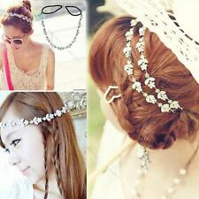 Women Fashion Rhinestone Flower Chain Jewelry Headband Head Hair band Gift AH
