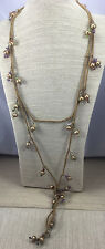 Vintage Style Necklace Freshwater Pearl Wire Work & Swede Lariate Flapper
