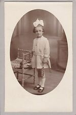 RPPC:  Little Girl, Huge Bow In Hair, Holding Skipping Rope, Thiers France
