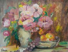 Old vintage artist signed original floral fruit still life oil painting