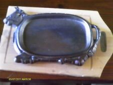 Cast Iron Oval COW SHAPED Pan with OAK Wood Serving Board