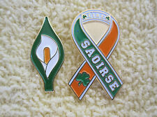 "Easter Lily & ""SAOIRSE"" Ribbon Badges Éire Freedom Irish Republican Tri/Colors"