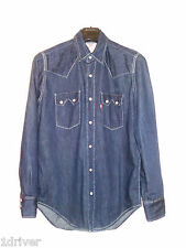 Vintage 80's Mens Levis Western Denim Shirt Size Small Hexagon buttons