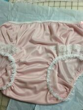 Vintage Style Pink NYLON PANTIE Long Wide Double GUSSET WHITE LACE INSET