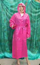 Shiny Solid Pink PVC vynal Raincoat hooded mackintosh TV fettish size Large,