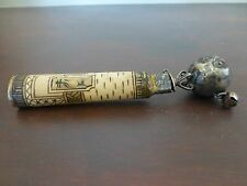"""Unusual tibetan ? asian carved artifact, with brass bells 6"""""""