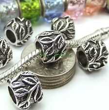 Silver Plated Leaf Bead Spacer Large Hole Slider fit European Charm Bracelet