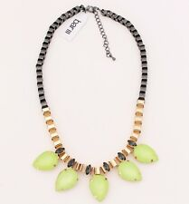 $32 Bar III - Lime Tear Drop Frontal w Large Bold Box Chain Sexy Choker Necklace