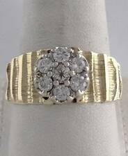 14K YELLOW GOLD 3/4ct 7 ROUND DIAMOND KENTUCKY CLUSTER TEXTURED BAND RING 11mm