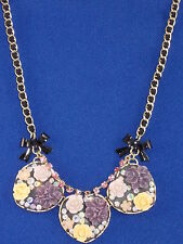 Betsey Johnson Gold Fabulous Flowers Triple Cluster Heart Ribbon Weave Necklace