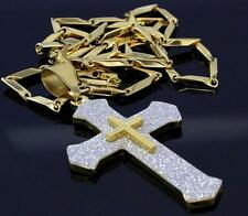 "Glitter Shine 14kt Plated Stainless Steel Cross 2.5"" Pendant Arrow 30"" Chain"
