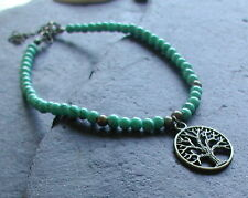 Turquoise Beads Antique Bronze Tree of Life Anklet Ankle Bracelet Handmade
